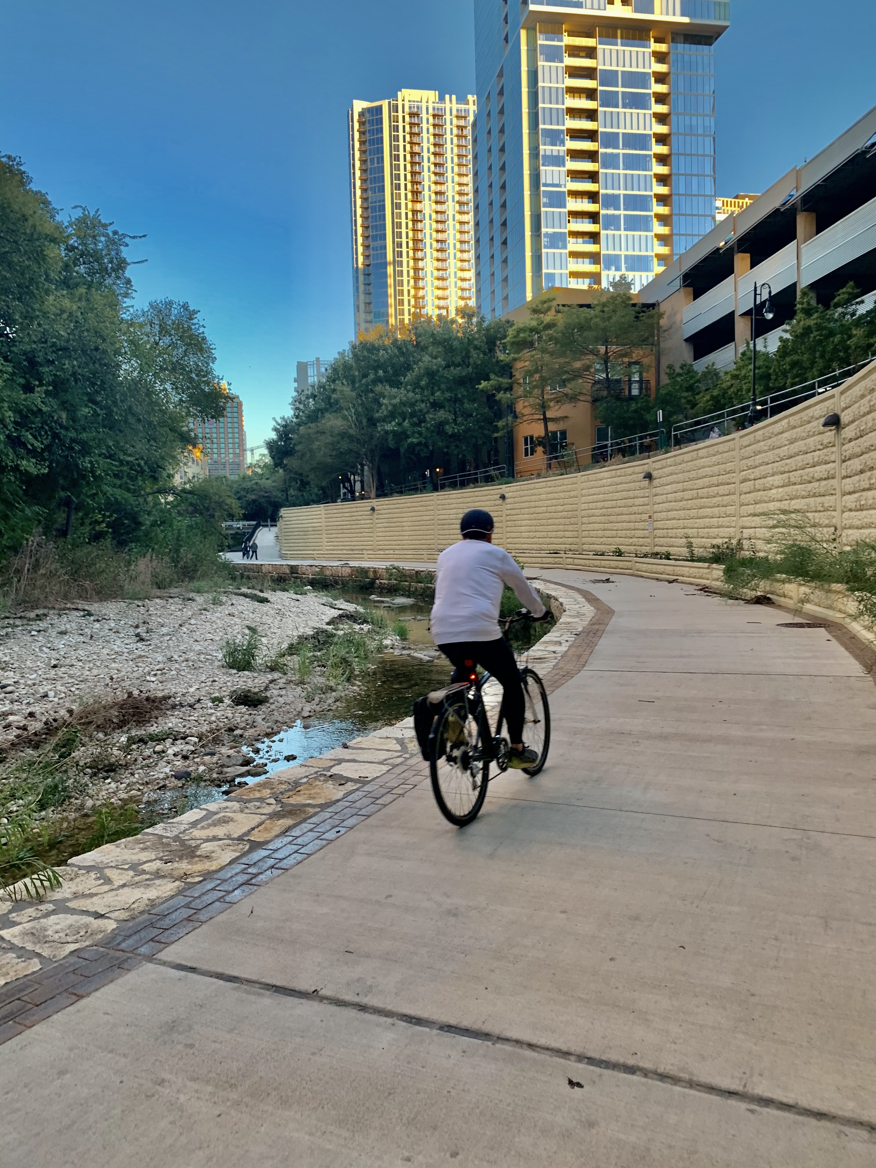 A man biking on the trail. (September 2019)