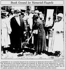 This is photograph of the groundbreaking ceremony for the World War I Memorial Flagpole on