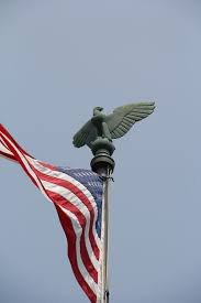 This photograph is a shot of the bronze eagle that sits atop of the flagpole with its wings sculpted open.