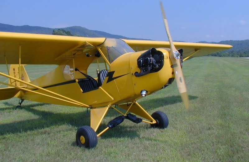 A Piper J-3 Cub parked on the grass of the Lock Haven, Pennsylvania, airport during the Sentimental Journal Fly-in.