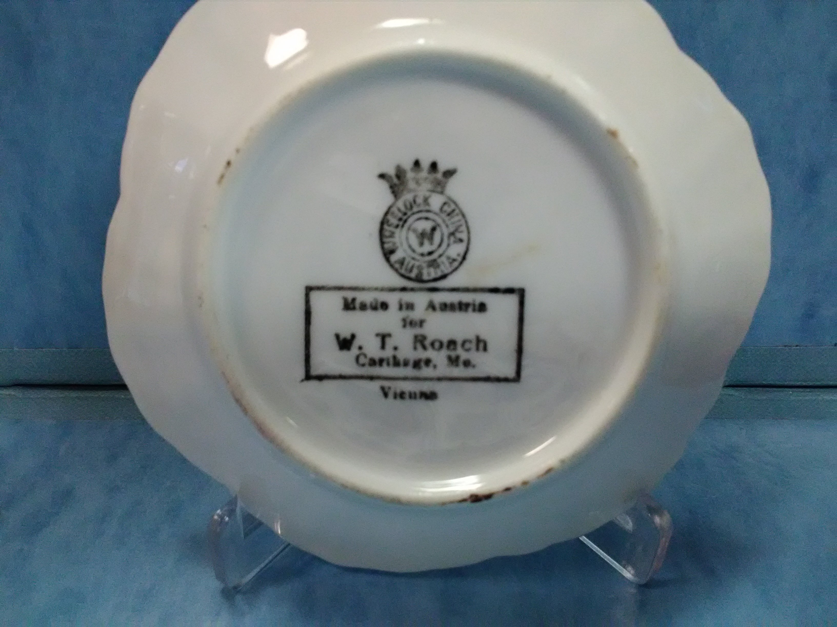 Back of pin dish sold in W. T. Roach store at this location displayed for the 175th Anniversary of Carthage 2017 exhibit at the Powers Museum.