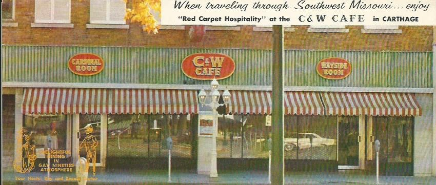 Brochure displayed during 175th Anniversary of Carthage exhibit. Brochure was a promotional piece made by the C & W Cafe to promote Carthage tourism and shows the first floor storefront for the restaurant.