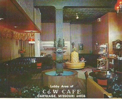Interior of the restaurant, mid-1960s, from brochure above.