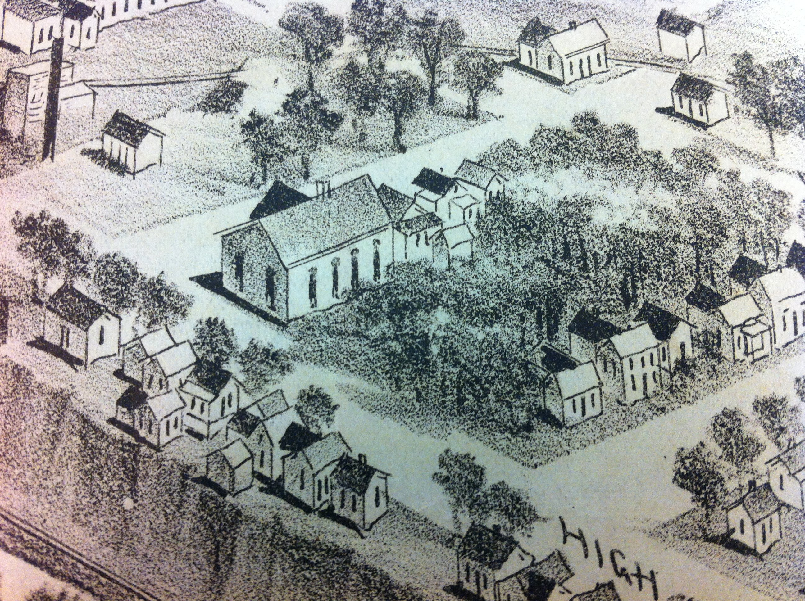 "Lincoln School detail from ""1891 Bird's-eye View of Carthage, Missouri"" print. Print was displayed during the 175th Anniversary of Carthage 2017 exhibit."