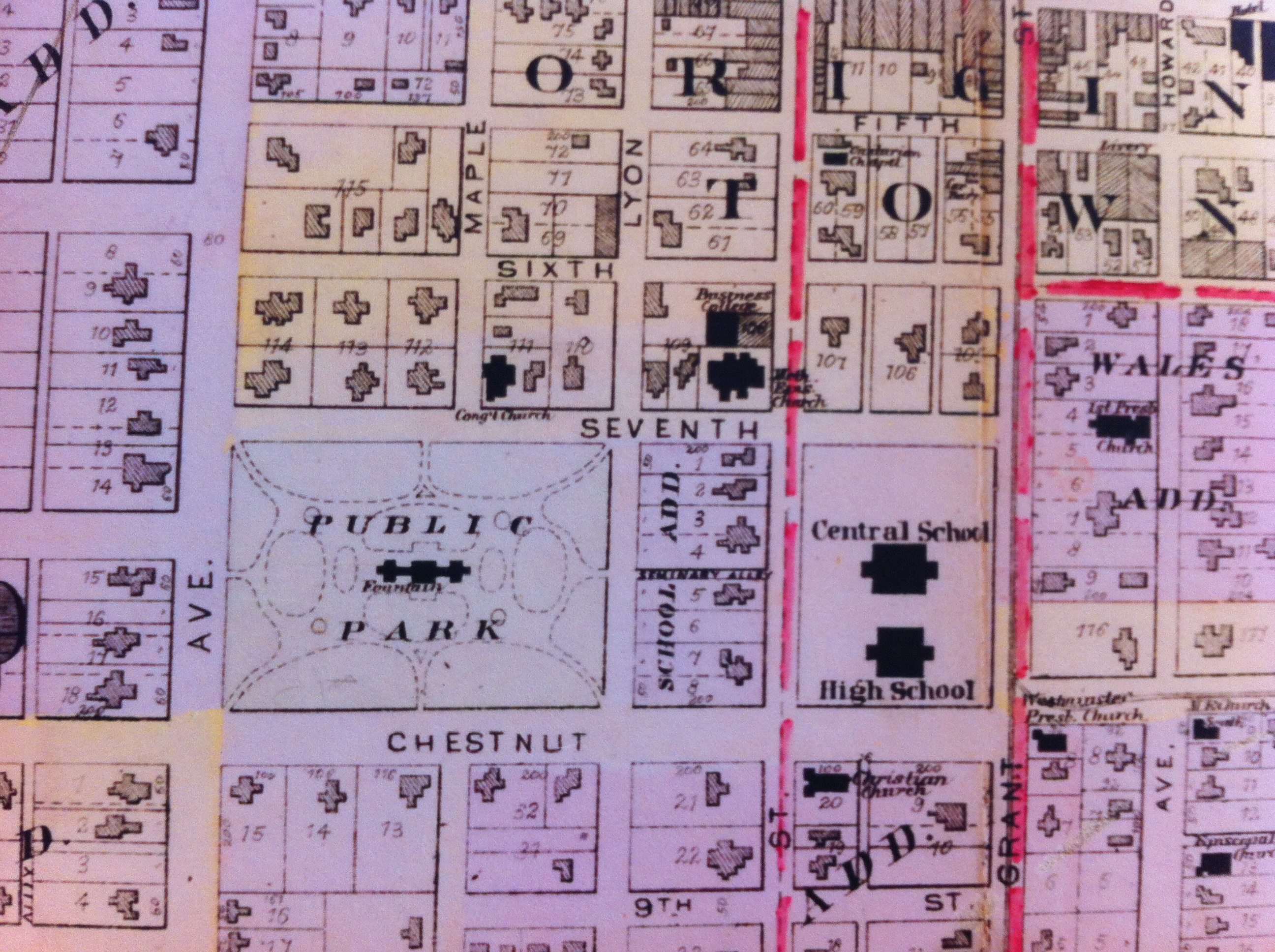 "Detail of ""Public Park,"" now named Central Park, from 1895 map displayed in 175th Carthage Anniversary Exhibit in 2017 at Powers Museum."