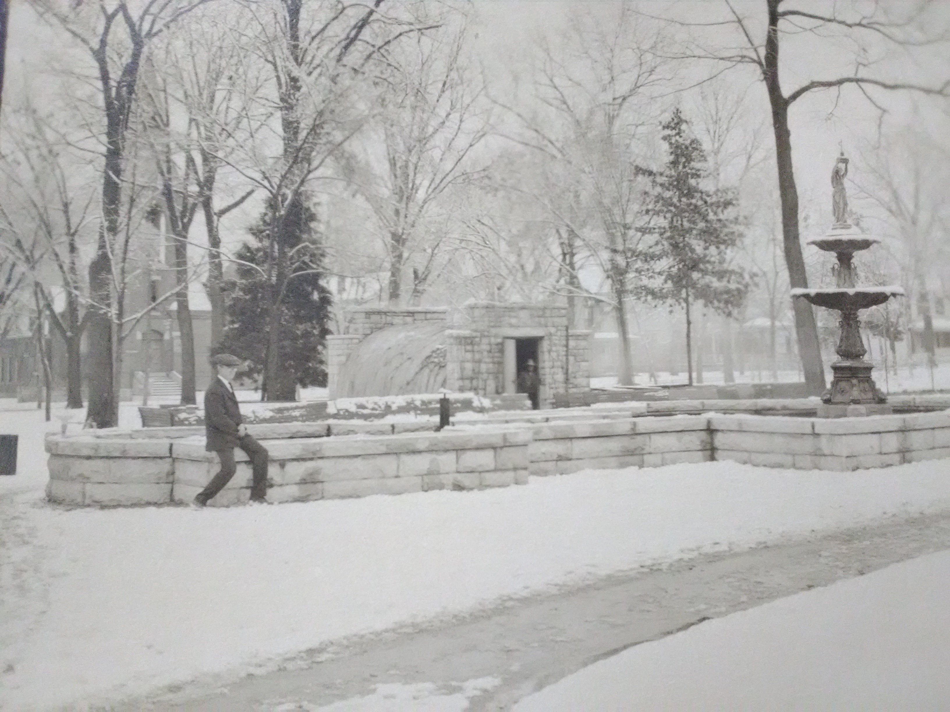 Detail of Central Park fountain as seen in winter from a larger photograph on display in the 175th Anniversary of Carthage 2017 Exhibit at Powers Museum. The photographer was William Weaver and image is circa 1910-15.