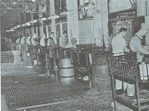Interior of Steadley factory, circa 1950s, as taken from a company brochure from the Powers Museum archival collection.