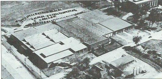 The manufacturing facilities at Steadley grew to be an extensive complex on River Street as seen by this 1950s aerial view. Several decades later, Leggett and Platt acquired the company.