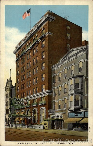 A vintage postcard of the Phoenix Hotel in its former glory. The hotel was a frequented spot by locals (and supposedly a few presidents) on the corner of Limestone and East Main Street in downtown Lexington.