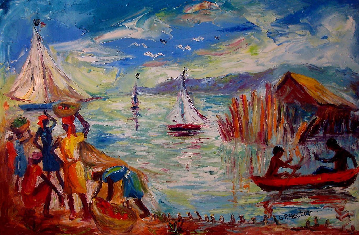 Le Musee often displays various forms of f.p.c art, such as this work by a Haitian artist.