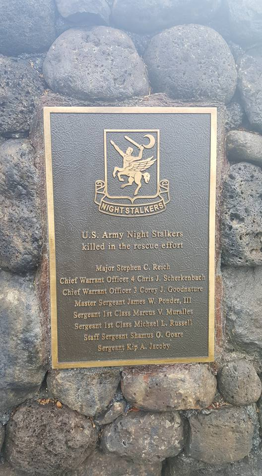 Names of the Army 160th SOAR Night Stalkers killed in the rescue effort.