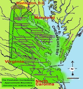 Powhatan Confederacy Territorial Map, courtesy of the Powhatan Museum of Indigenous Arts and Culture (image reproduced under Fair Use)