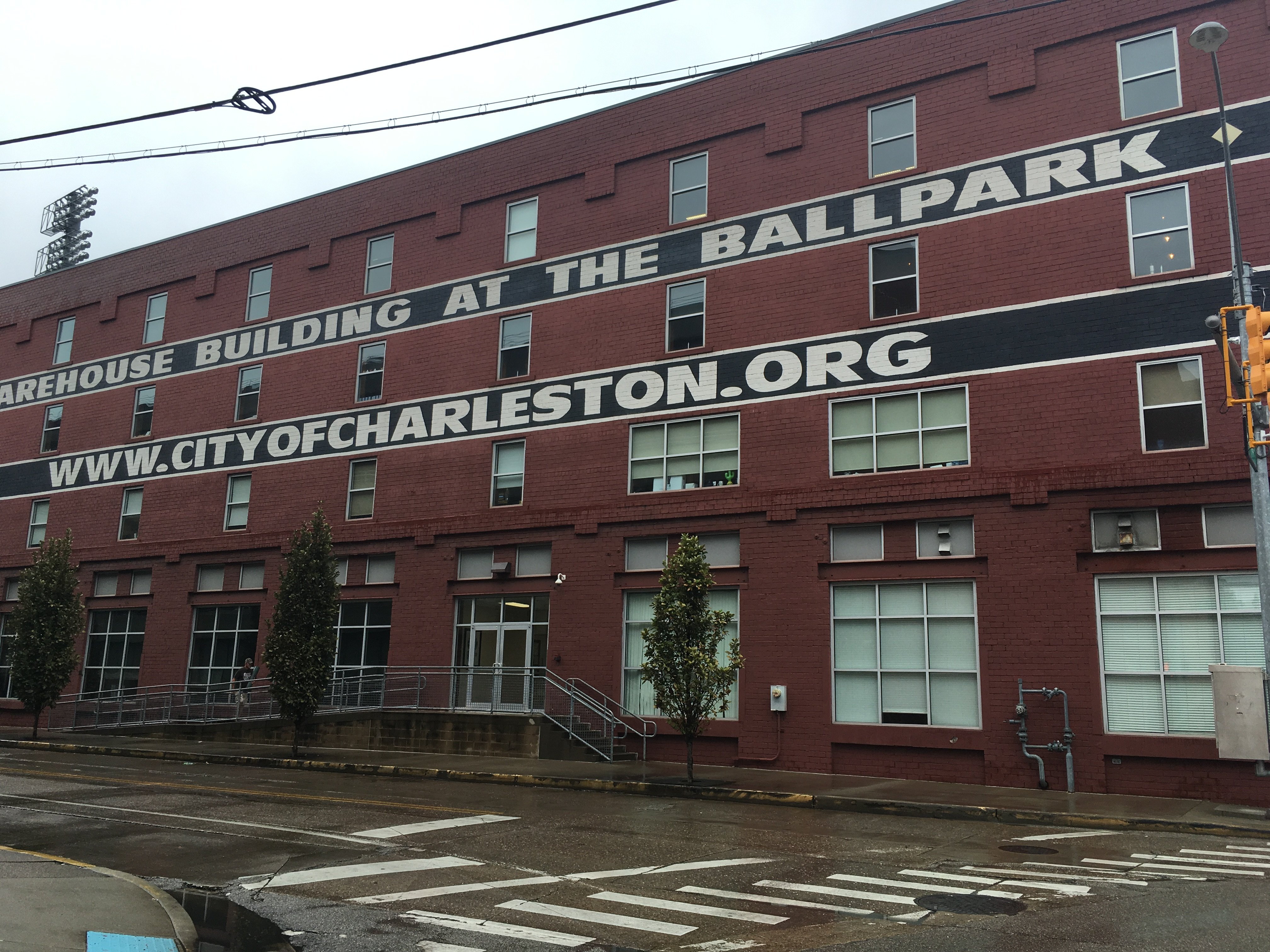"Appalachian Power Park Building,  601 Morris Street, Charleston WV;  corner of Morris & Lewis Street;  location of display regarding ""The Block"" and other wall displays of African American history of Charleston WV."