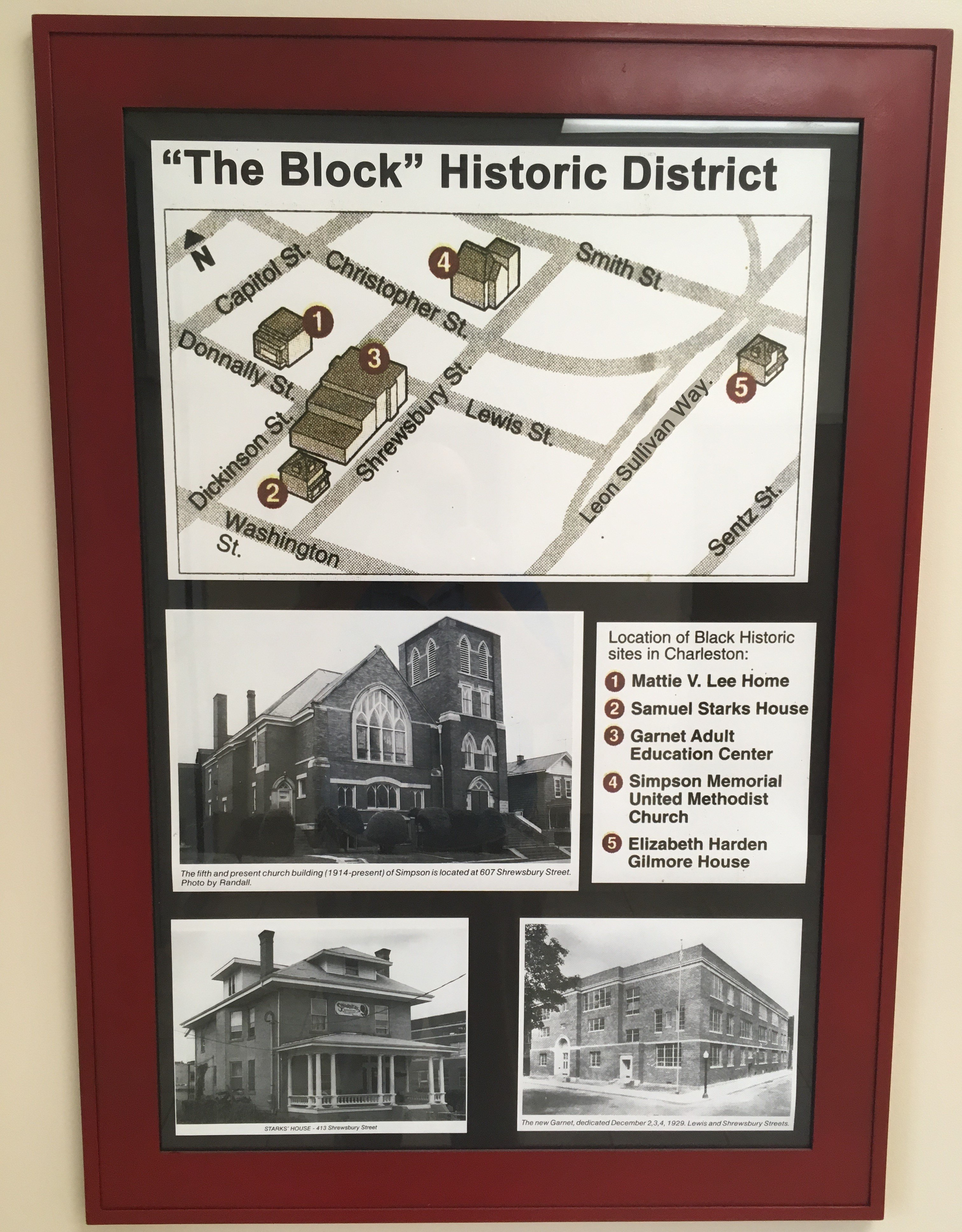 """The Block"" display;  map of Historic District,  West Virginia's first local recognized historic district including five sites on National Register of Historic Places: Mattie Lee Home, Sam Starks Home, Garnet School, Simpson Church & Gilmore House."