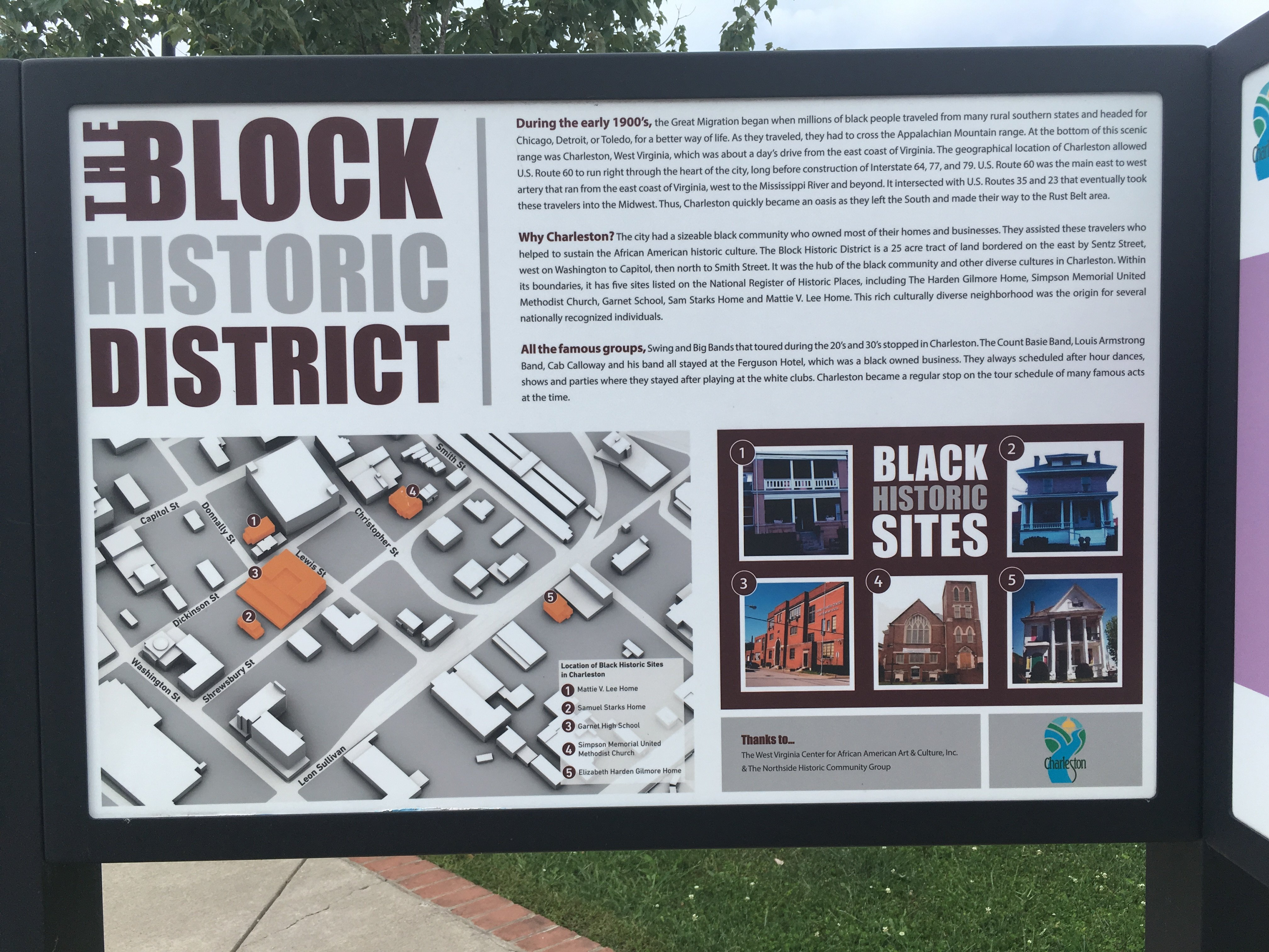 """The Block"" Historic District display, located on Washington Street, East (across from Clay Center, Charleston WV)."