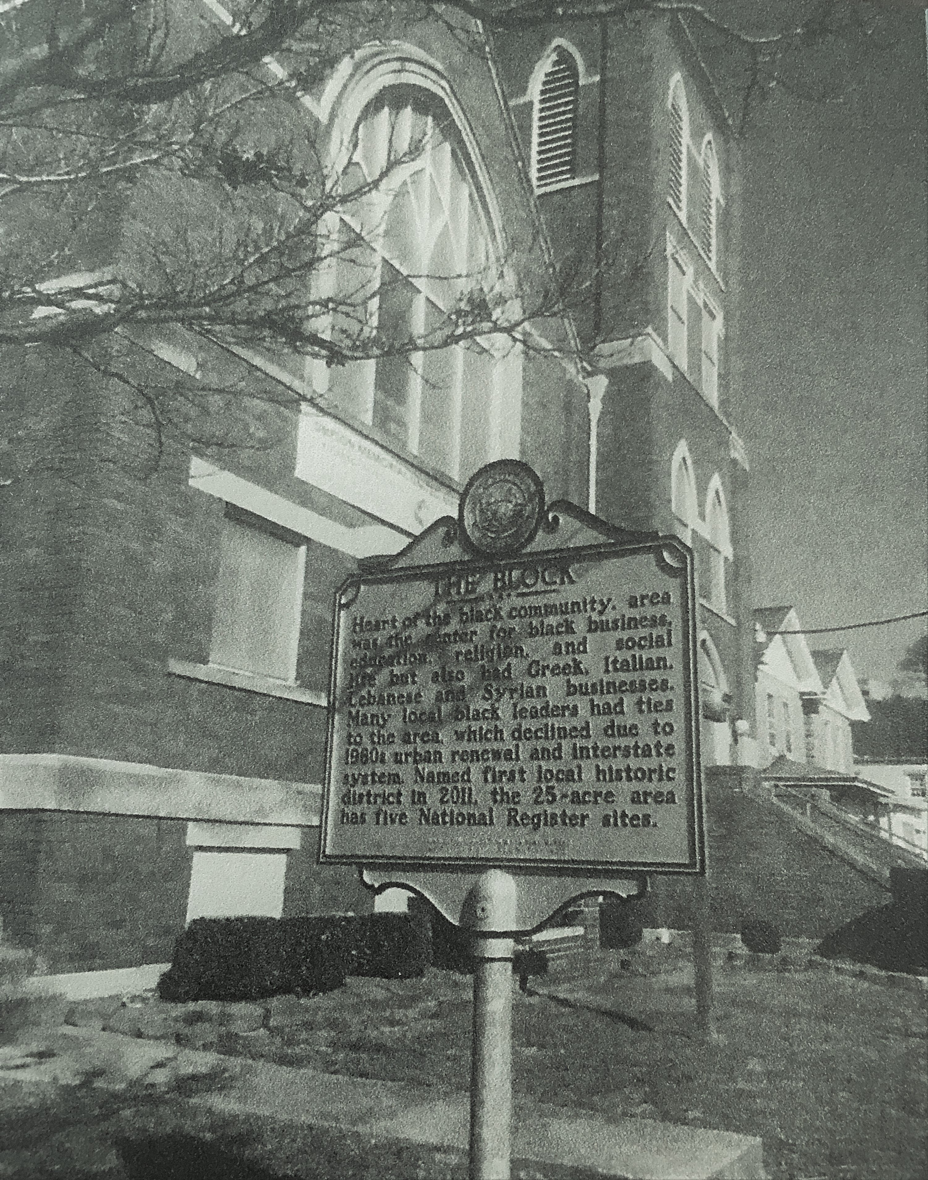 "Second historical marker, ""The Block"", at historic Simpson Memorial United Methodist Church, Shrewsbury Street, Charleston;  one of five historic sites located in ""The Block"" (duplicates the marker placed at Shrewsbury & Washington Street, East)."
