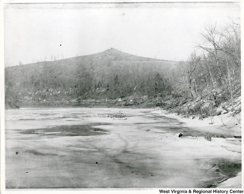 Undated photo of Dorsey's Knob, viewed from a frozen Monongahela River.
