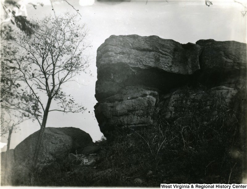 An old photo of Sky Rock, at the summit of Dorsey's Knob.
