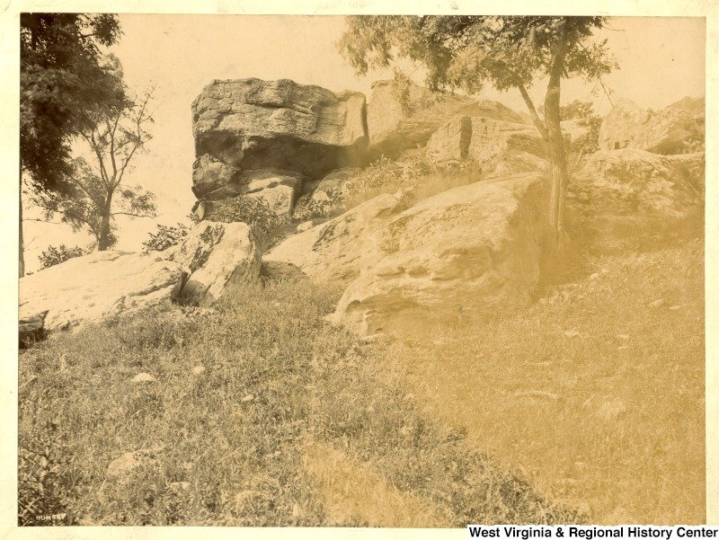 Pictured here is the summit of Dorsey's Knob and Sky Rock, ca. 1890-1910.