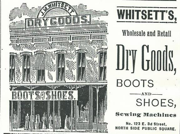 J M Whitsett's Dry Goods ad from 1888 Carthage City Directory. Former Powers Museum exhibit mount.
