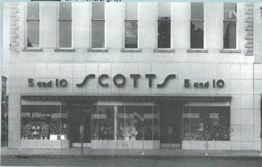 Later occupant of the building was Scott's 5 and 10 Store. This image shows attempt to modernize the building's first floor storefront in the 1940s.