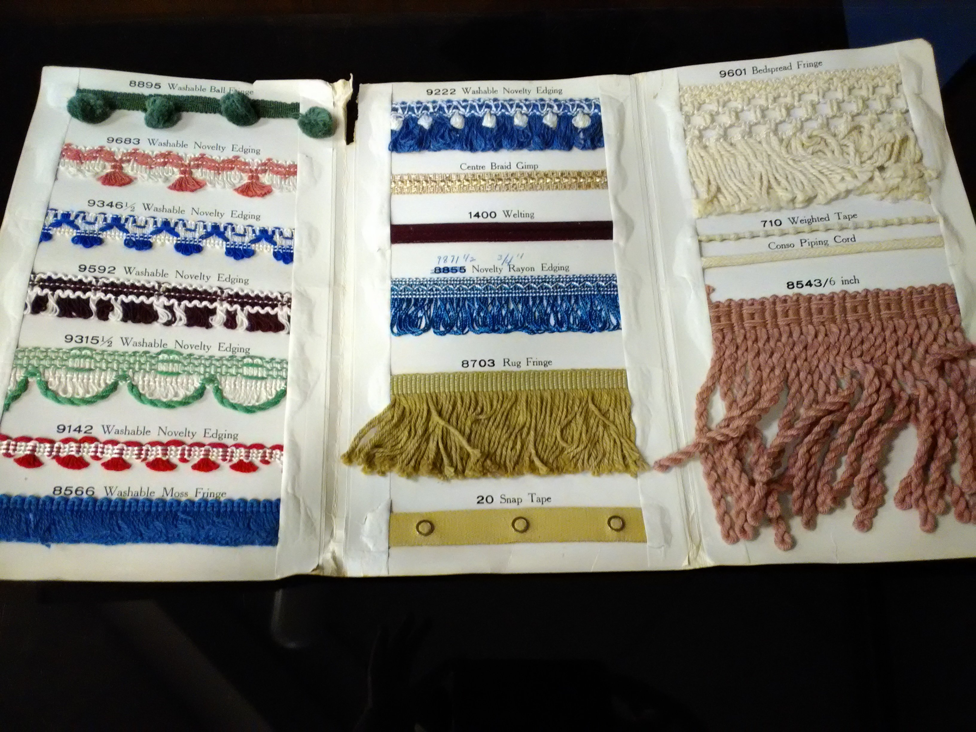 Trim samples as ordered and sold by Scotts 5 and 10 Cent store as displayed in 175th Anniversary of Carthage exhibit in 2017. These goods were manufactured by Montgomery Mills, Inc., of New York City and date from late 1940s.