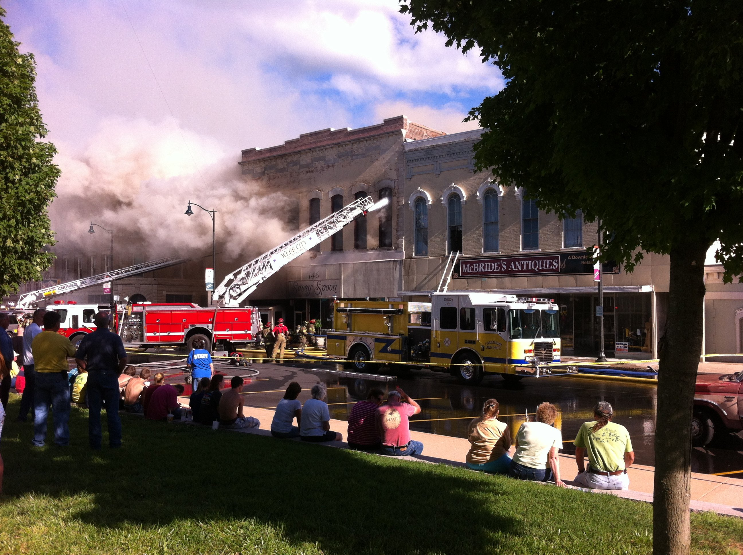2013 image of fire that destroyed this building.