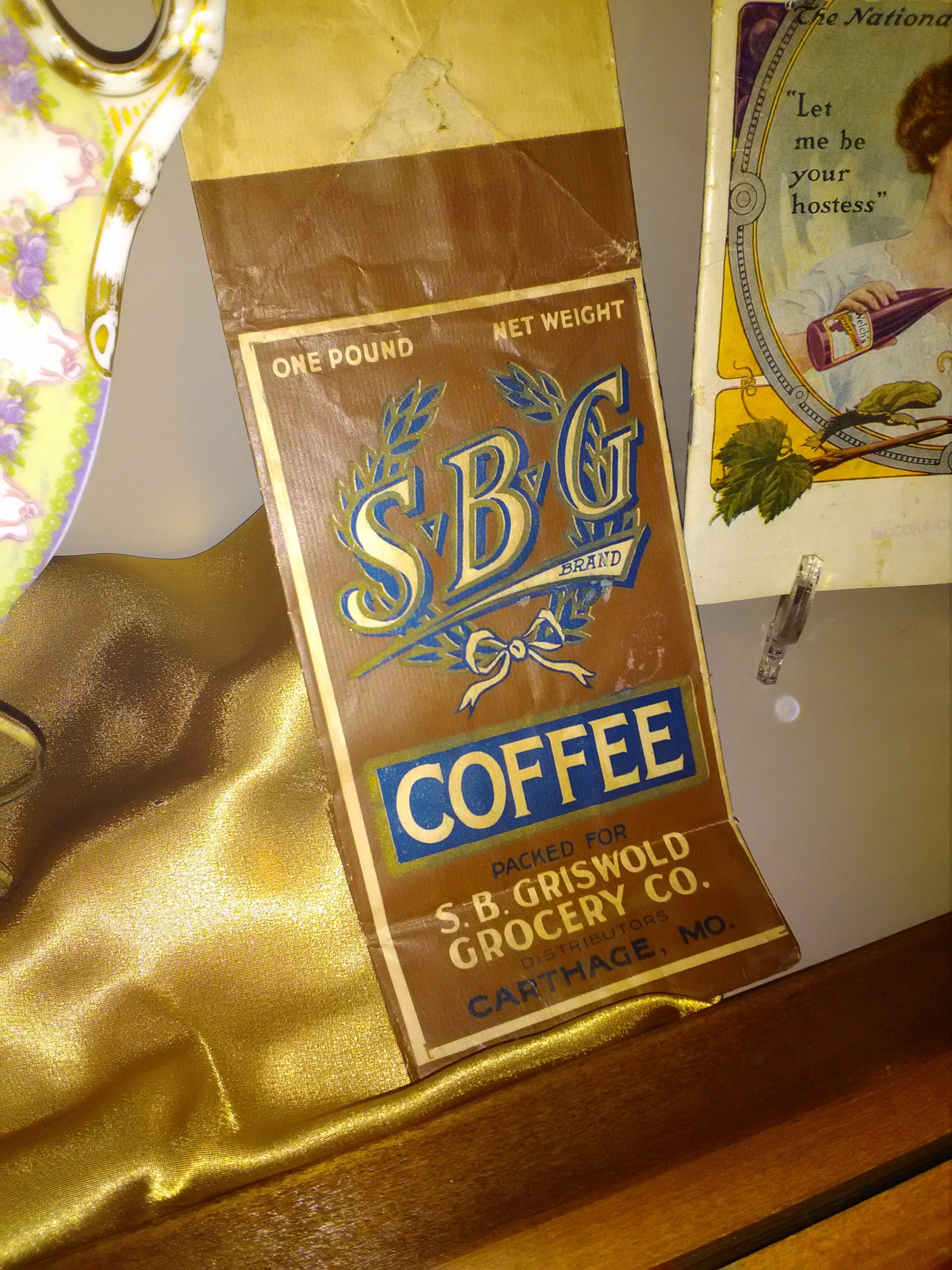 Griswold Grocery coffee bag, 1910, displayed in 175th Anniversary of Carthage Exhibit at  Powers Museum in 2017.