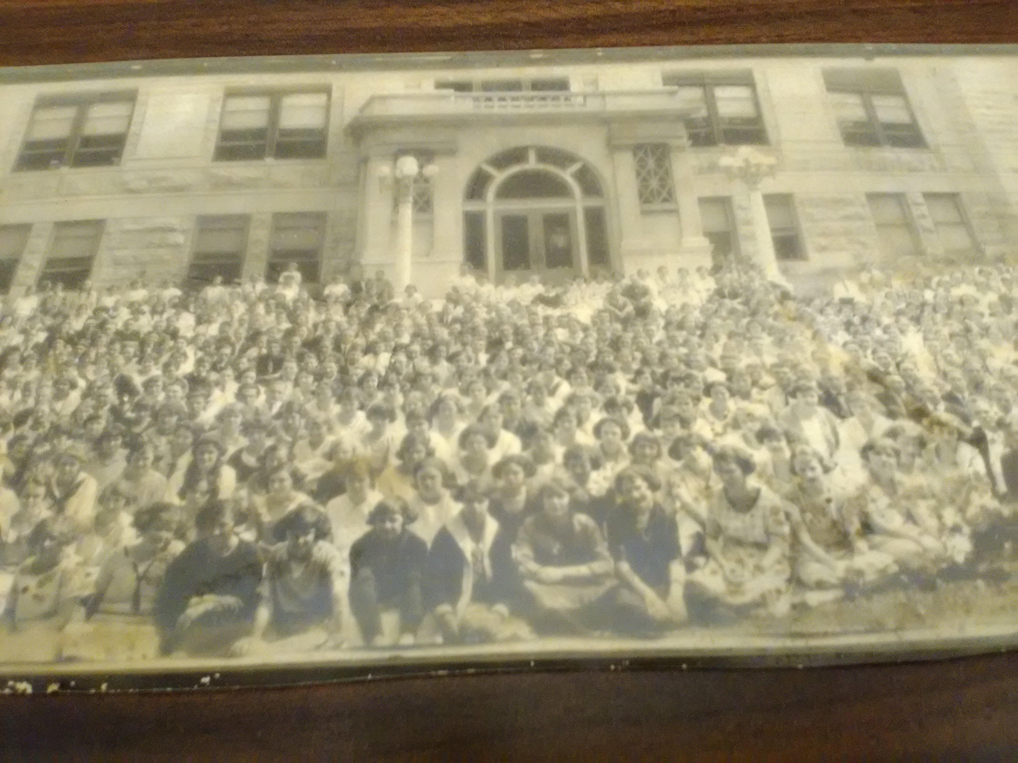 1920s photograph of students outside the main entrance of CHS that was part of the 175th Anniversary of Carthage Exhibit at the Powers Museum (2017).