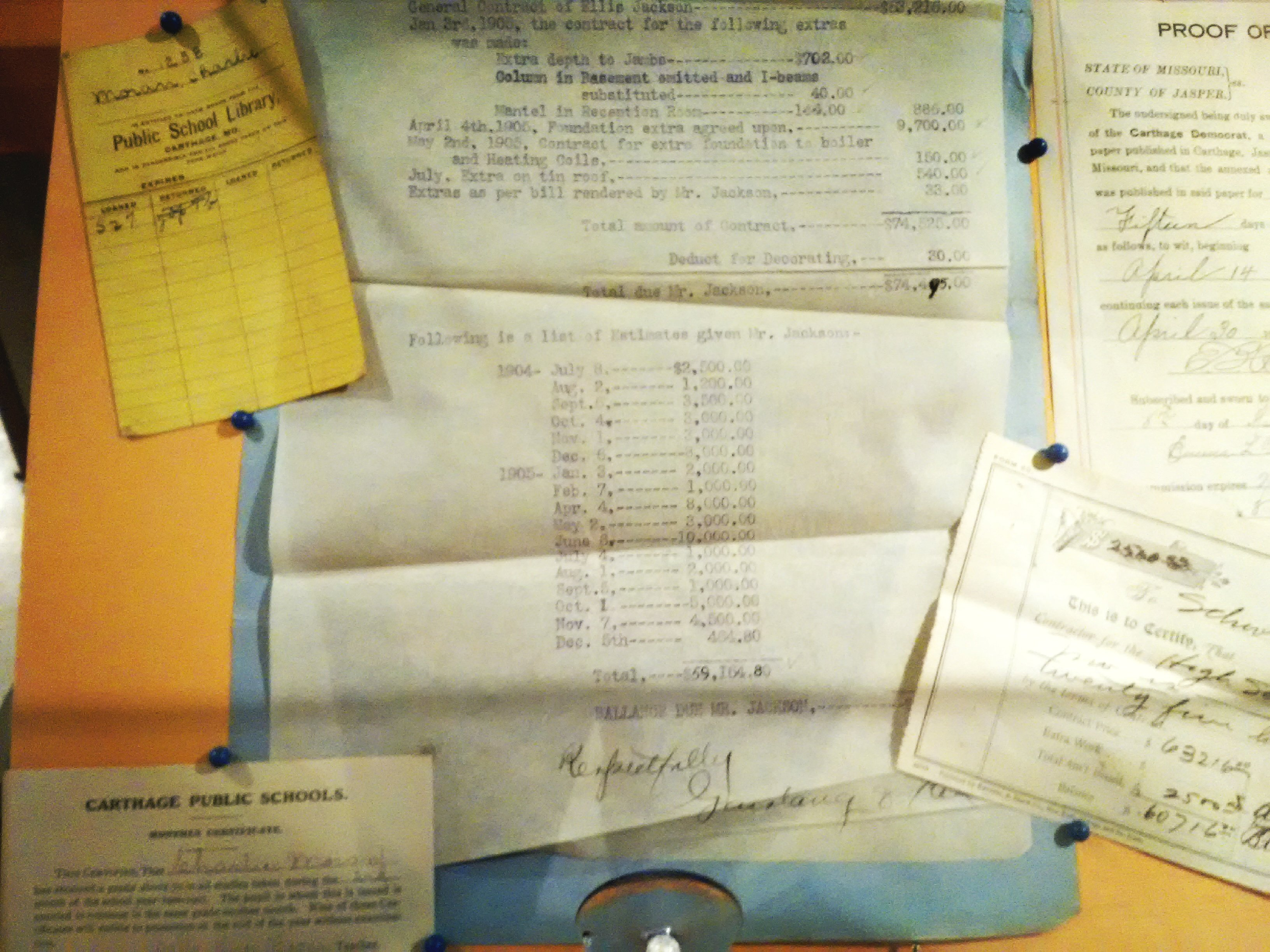 Papers associated with the construction of 1906 Carthage High School on displayed in 175th Anniversary of Carthage exhibit.