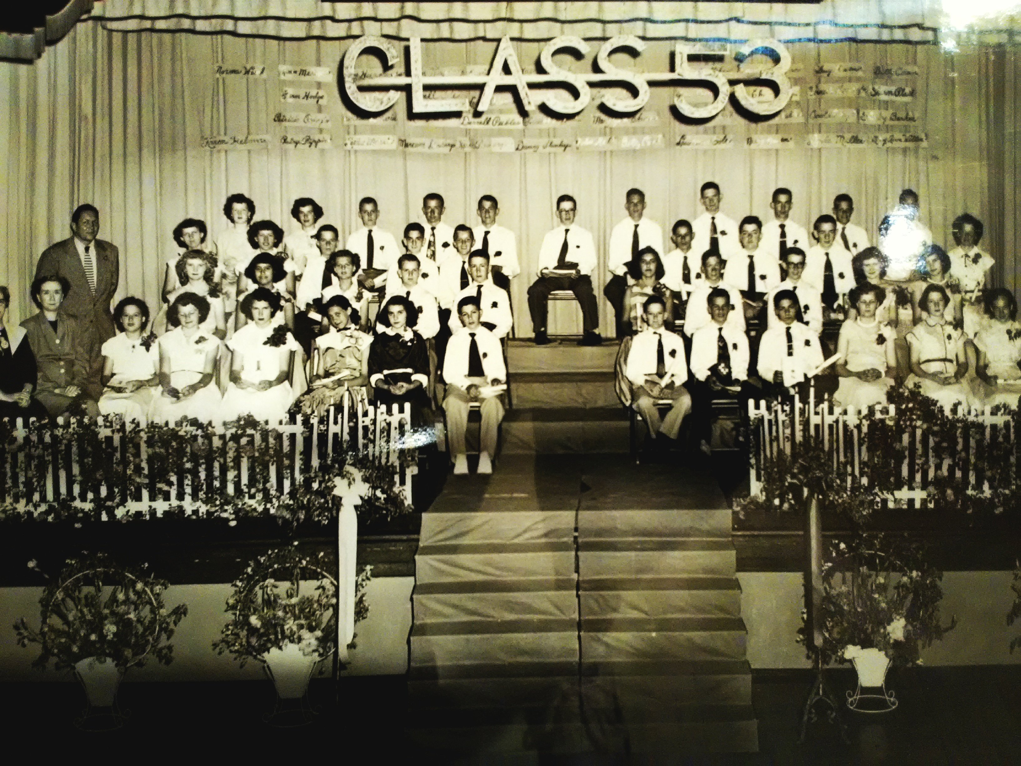 1953 8th grade (Junior High School) graduation at Eugene Field School. Photograph featured  in 175th Anniversary of Carthage exhibit at the Powers Museum in 2017.