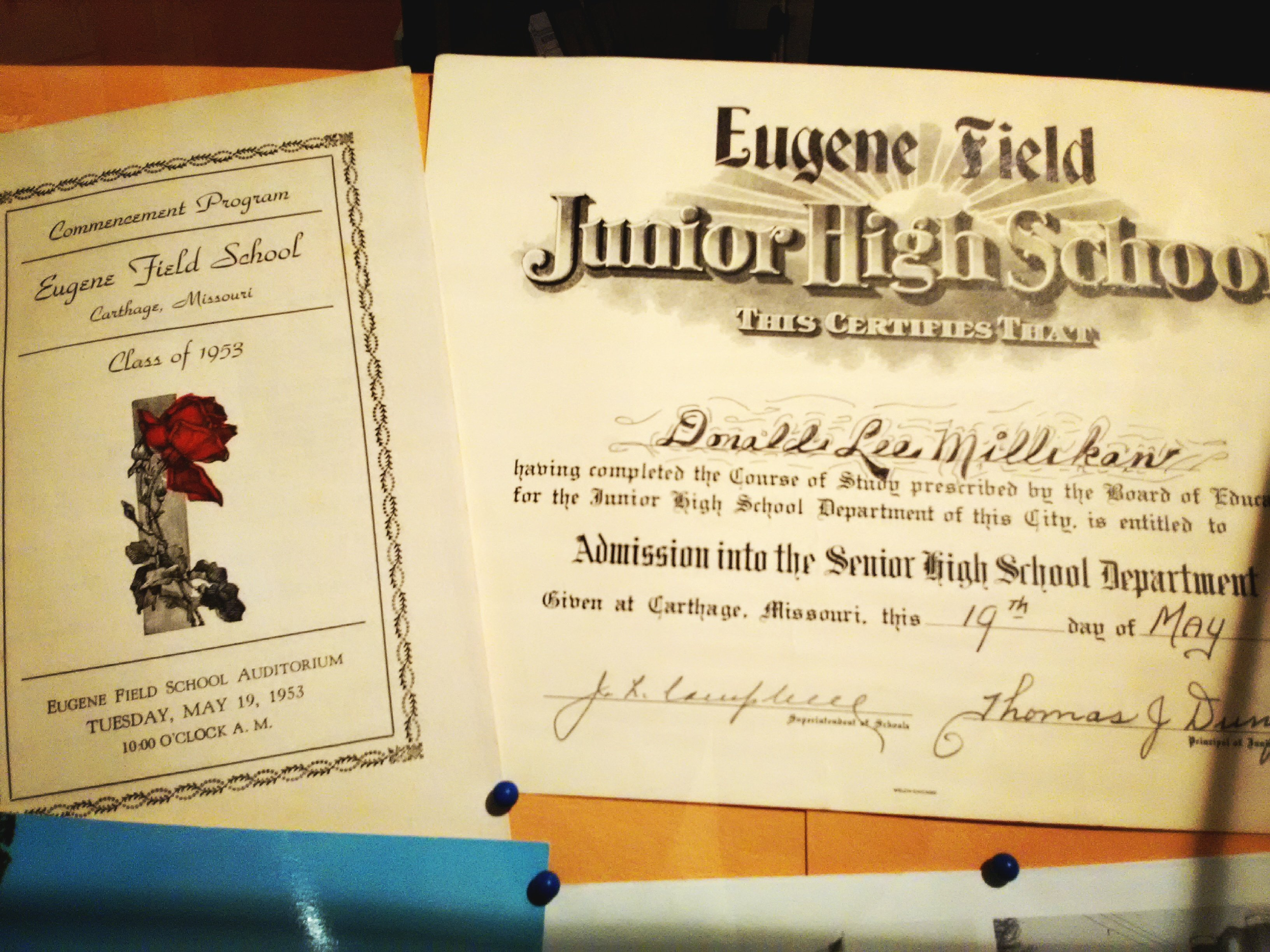 1953 program and graduation certificate for Donald Lee Millikan from Eugene Field School display in 175th Anniversary of Carthage at the Powers Museum in 2017.