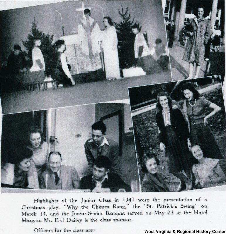 Reading the script for an upcoming Morgantown High School play in 1941 is Don Knotts as a junior, pictured in the lower left-hand picture. Courtesy of West Virginia and Regional History Center.