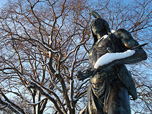 Statue of Wampanoag tribe leader, Massasoit, located in Plymouth Rock, Massachusetts.