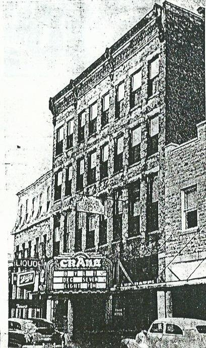 Image of Crane Theatre before remodeling in 1955. Next to the building on the left is the Harrington Hotel and portions of the Crane's building were also used by the hotel.