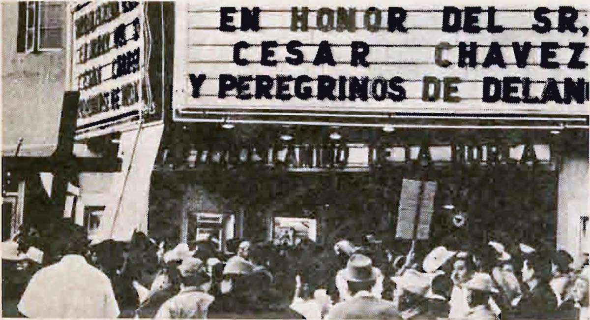 The National Farm Workers Association rally at the Azteca