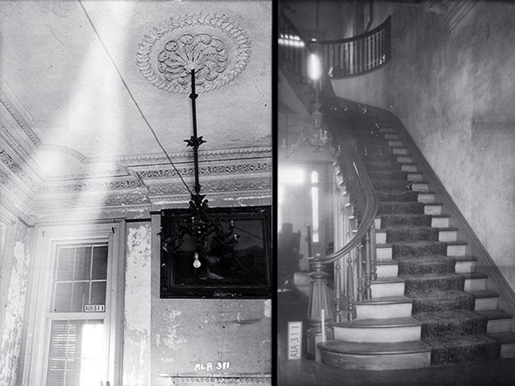 The front parlor and the spiral staircases that were common in plantation houses in the south.