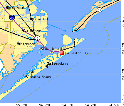 This map of Galveston, Texas shows the geography of the city and its likeness to an island.