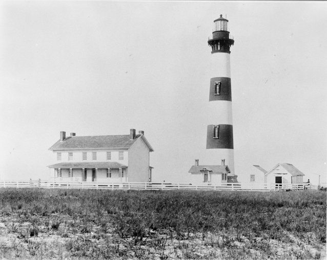 Courtesy of Library of Congress, this picture shows the third and final Bodie Lighthouse in 1893.