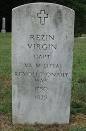 Grave of Rezin Virgin, a former participant in Revolutionary War and brother of Lucy. His is one of many other graves that can be found within the cemetery.