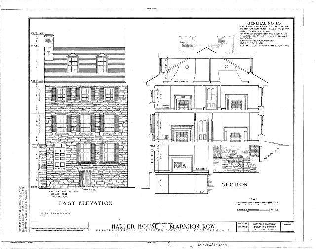 A measured drawing of the Harper House from the Historic American Buildings Survey.