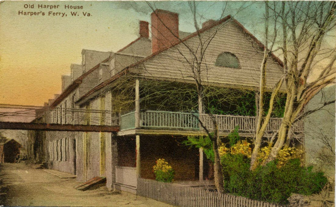 Historic postcard from Harpers Ferry displaying the Robert Harper House