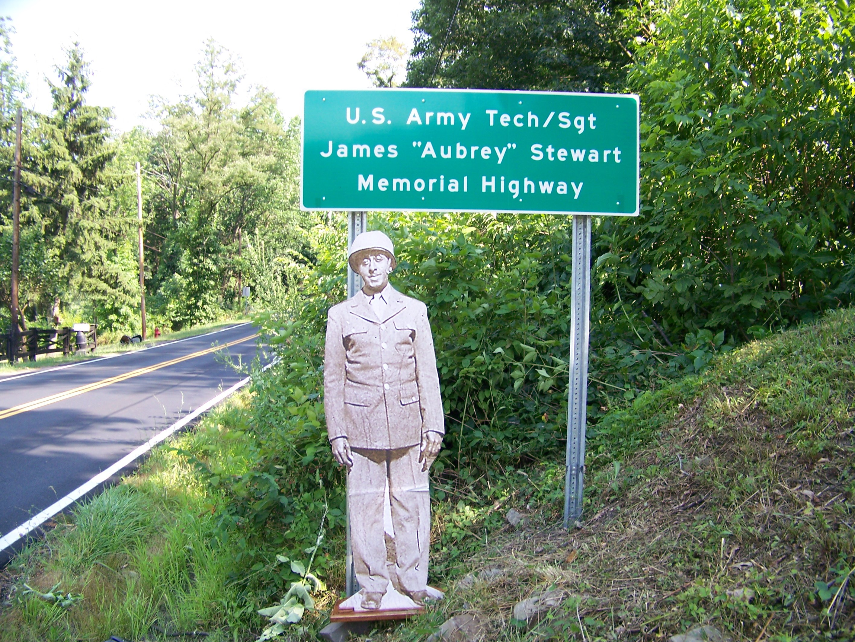 U.S. Army T/4 Sargent James Aubrey Stewart Memorial Highway U.S route 46 East in Piedmont, WV