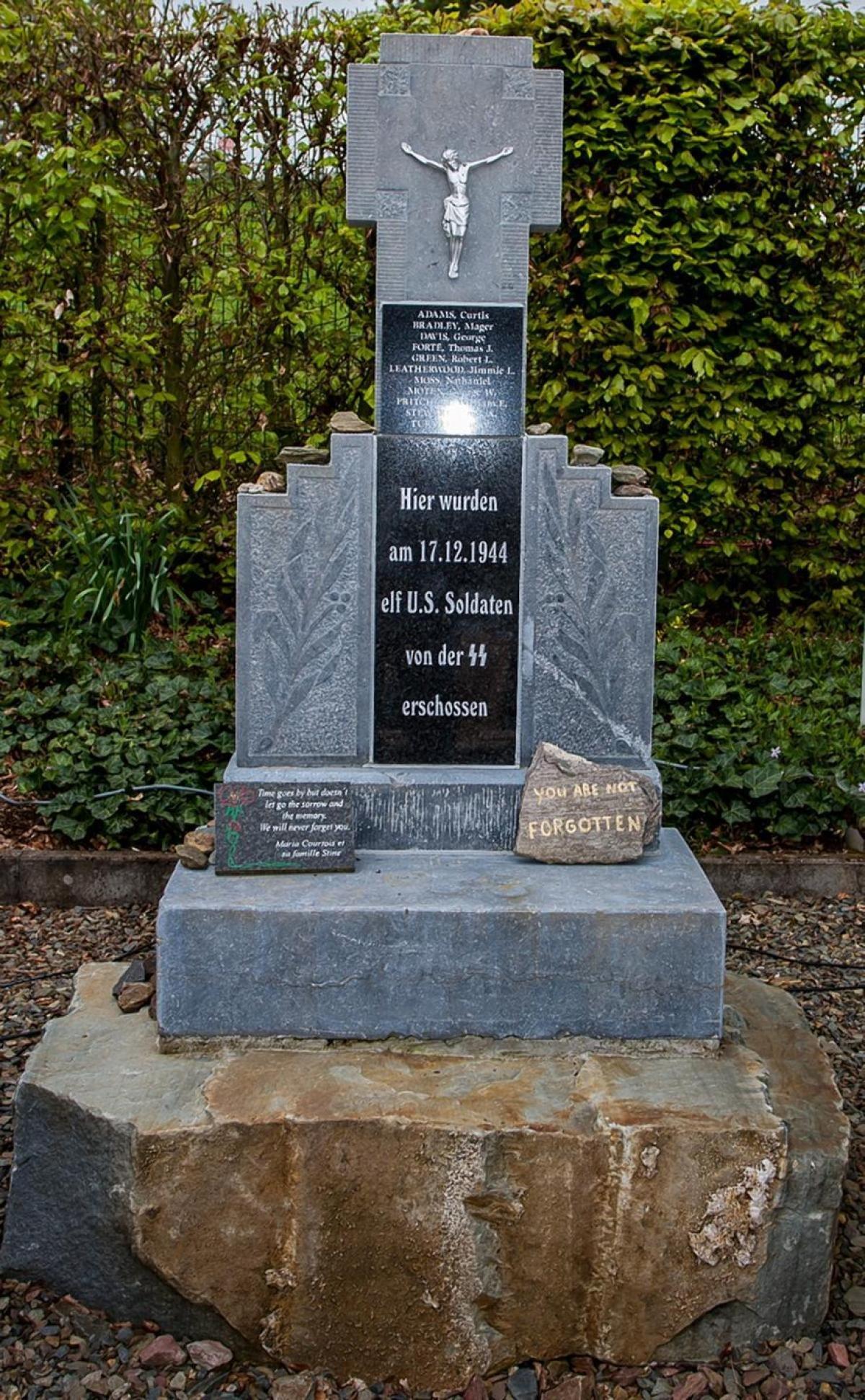 Current memorial in Wereth, Belgium dedicated to Aubrey Stewart and the Wereth 11