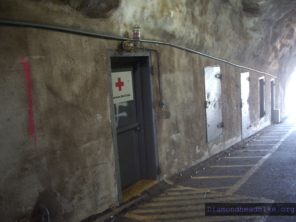 Rooms in tunnel wall. Harbor Defense Command used these rooms originally, they're now used by the Red Cross as storage
