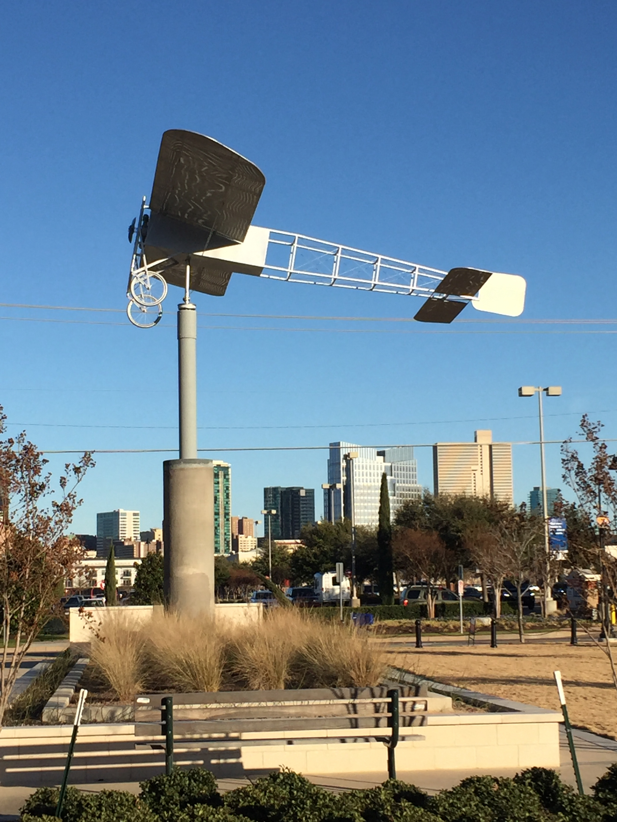Full Scale Scuplture of the Blerot XI that peformed the first powered flight in Fort Worth.  It is the largest wind vane in the State of Texas.