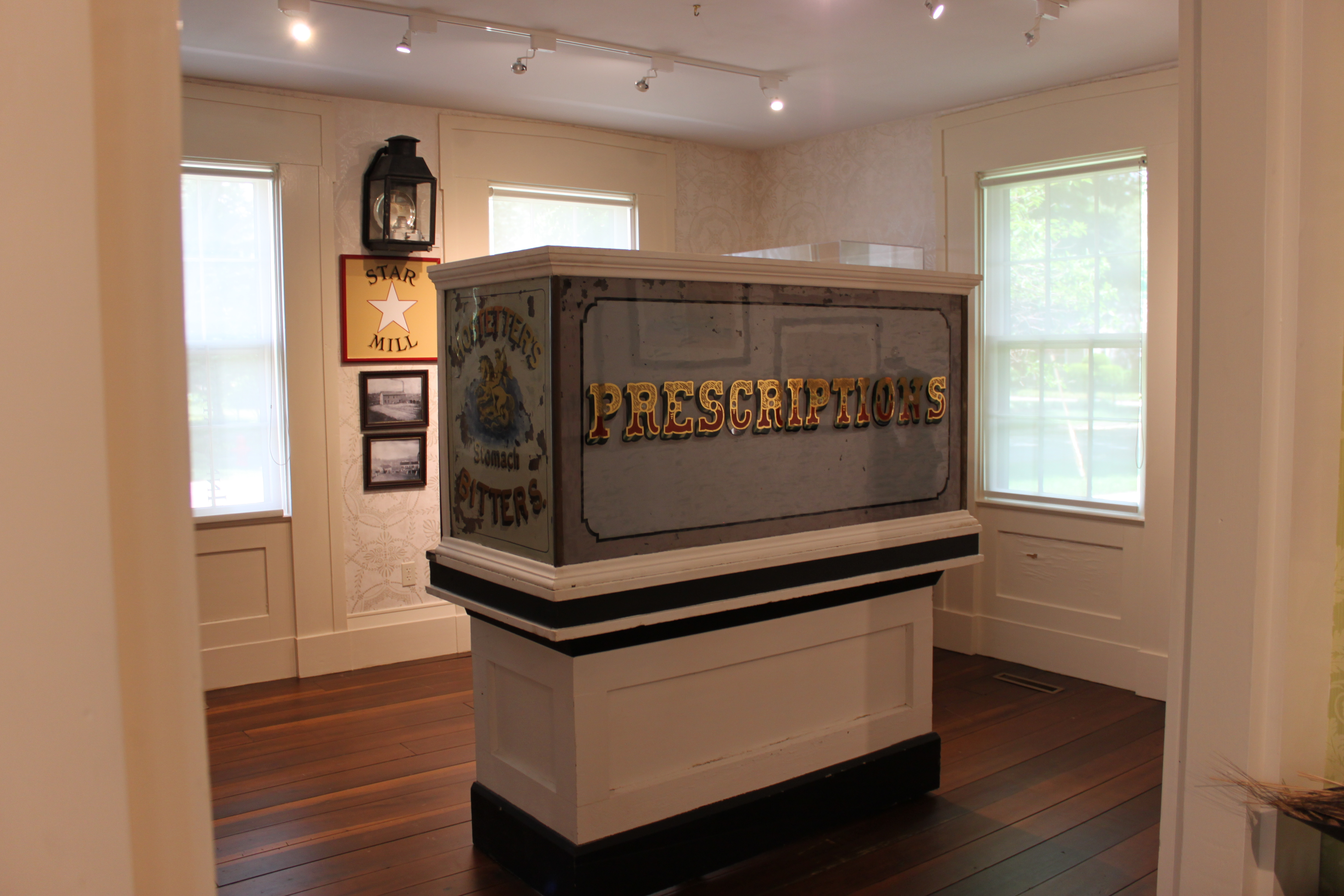 This pharmacy counter was brought to Milan from New York on a sailboat on the Great Lakes and then by canal boat on the Milan Canal.