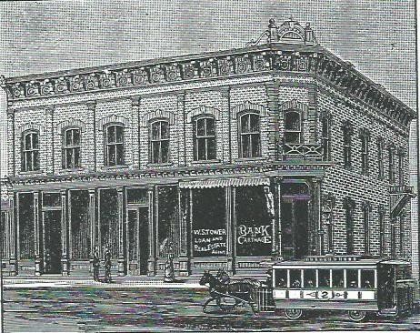 Bank of Carthage illustration from 1888 Carthage City Directory before third floor added and first floor was remodeled in 1890.
