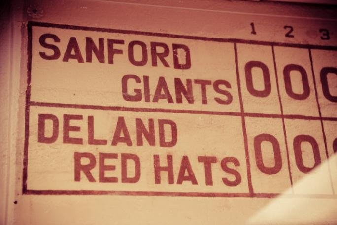 Scoreboard from the old stadium during the 1950s