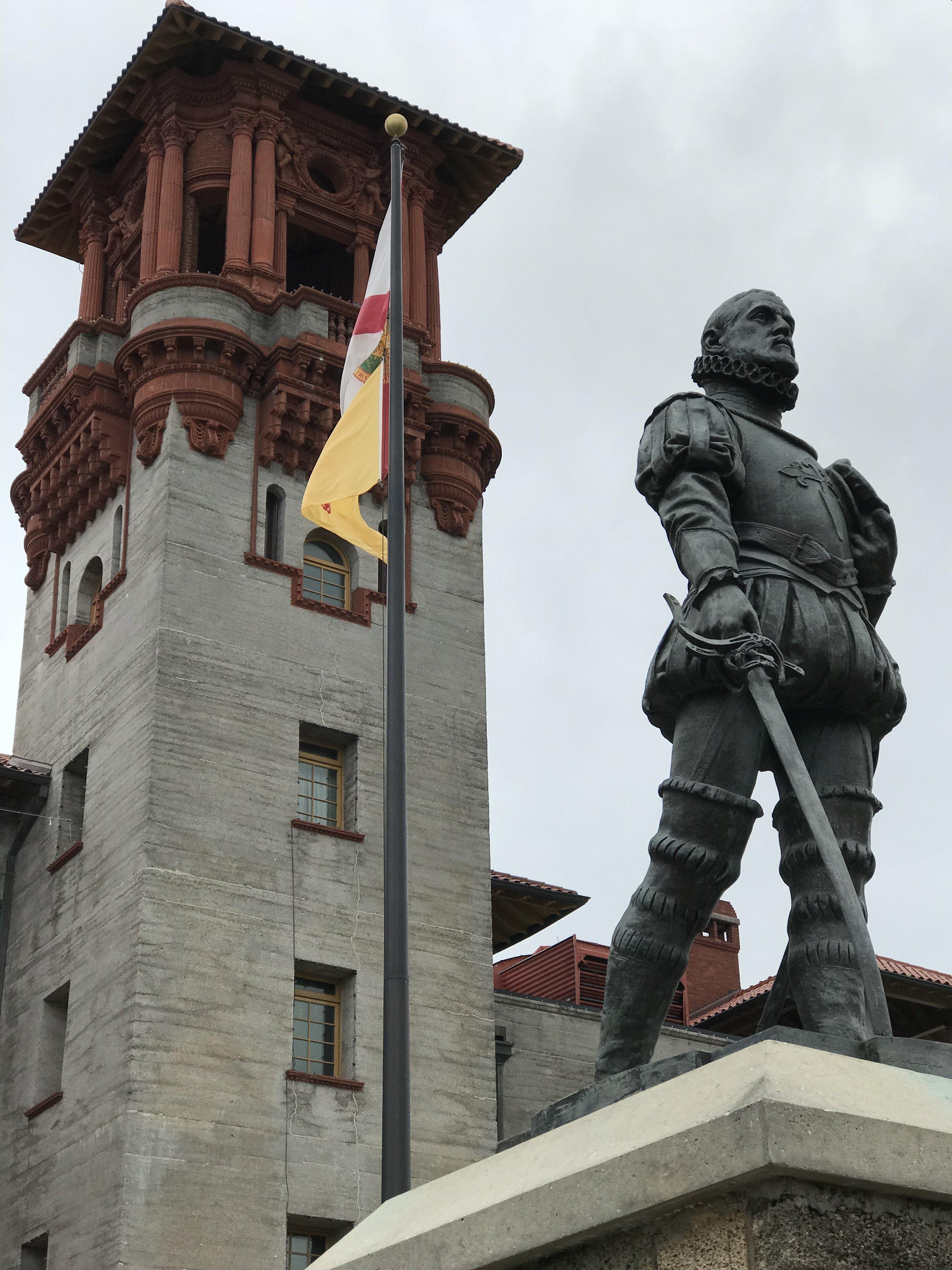 Pedro Menéndez de Avilés statue and tower.